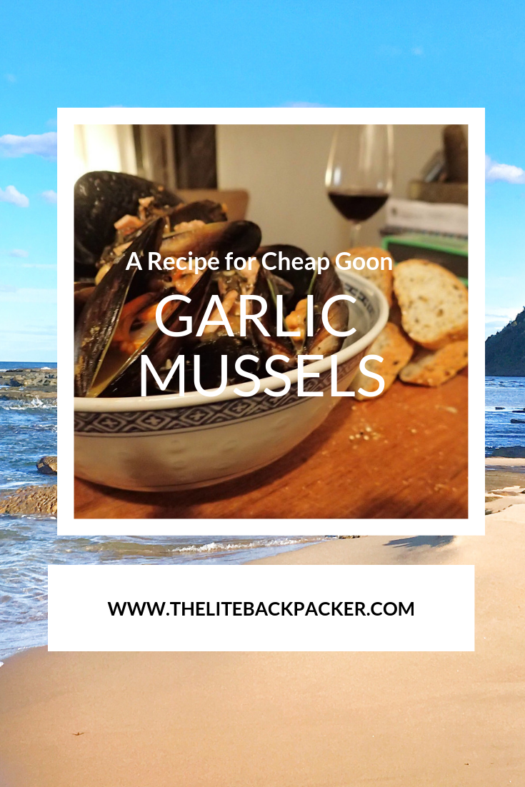 A fantastic and easy meal to make which you are #travelling around Australia... oh and it's #budget friendly too! Here is my cheap goon garlic mussels recipe for you to enjoy.