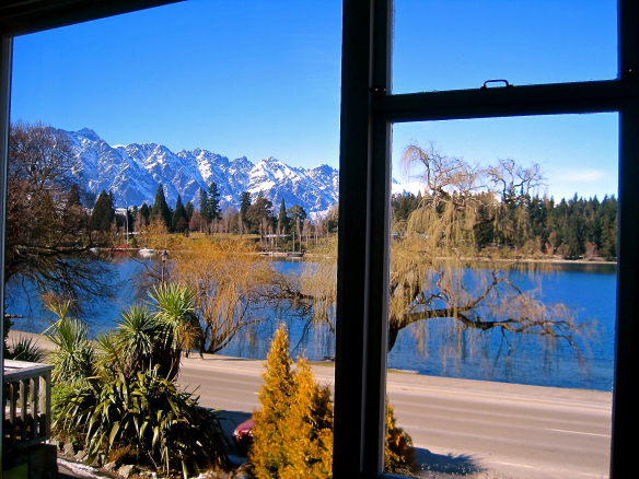 View from my hostel room at Bumbles - Queenstown