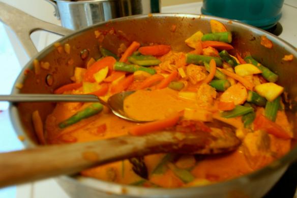 Red thai salmon curry