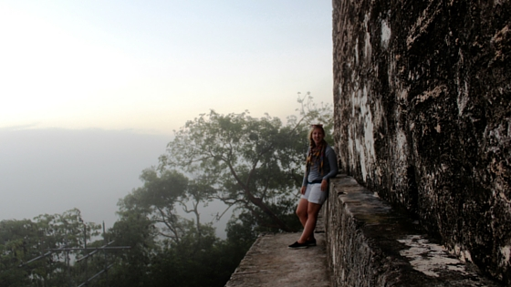 Waiting at the top of a pyramid to watch the sunrise over Tikal - life changing moment!